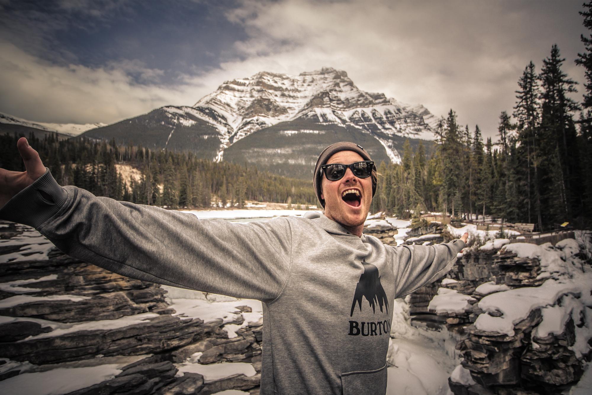 Cal at the Athabasca Falls, Jasper National Park