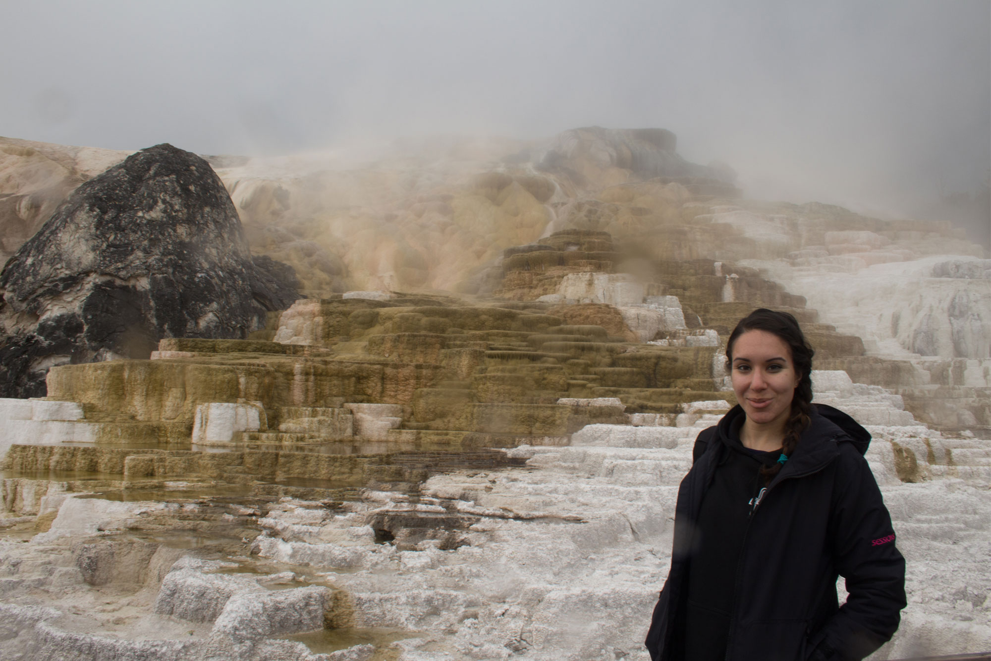 Amy at Mammoth Hot Springs, Yellowstone National Park