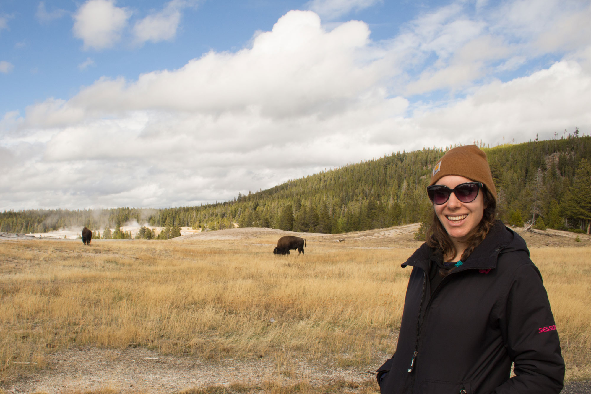 Amy at Old Faithful, Yellowstone National Park