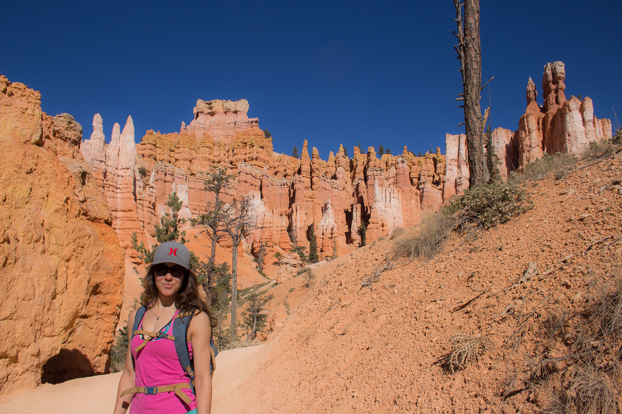 Amy-on-the-Queen's-Garden-Trail,-Bryce-Canyon-National-Park