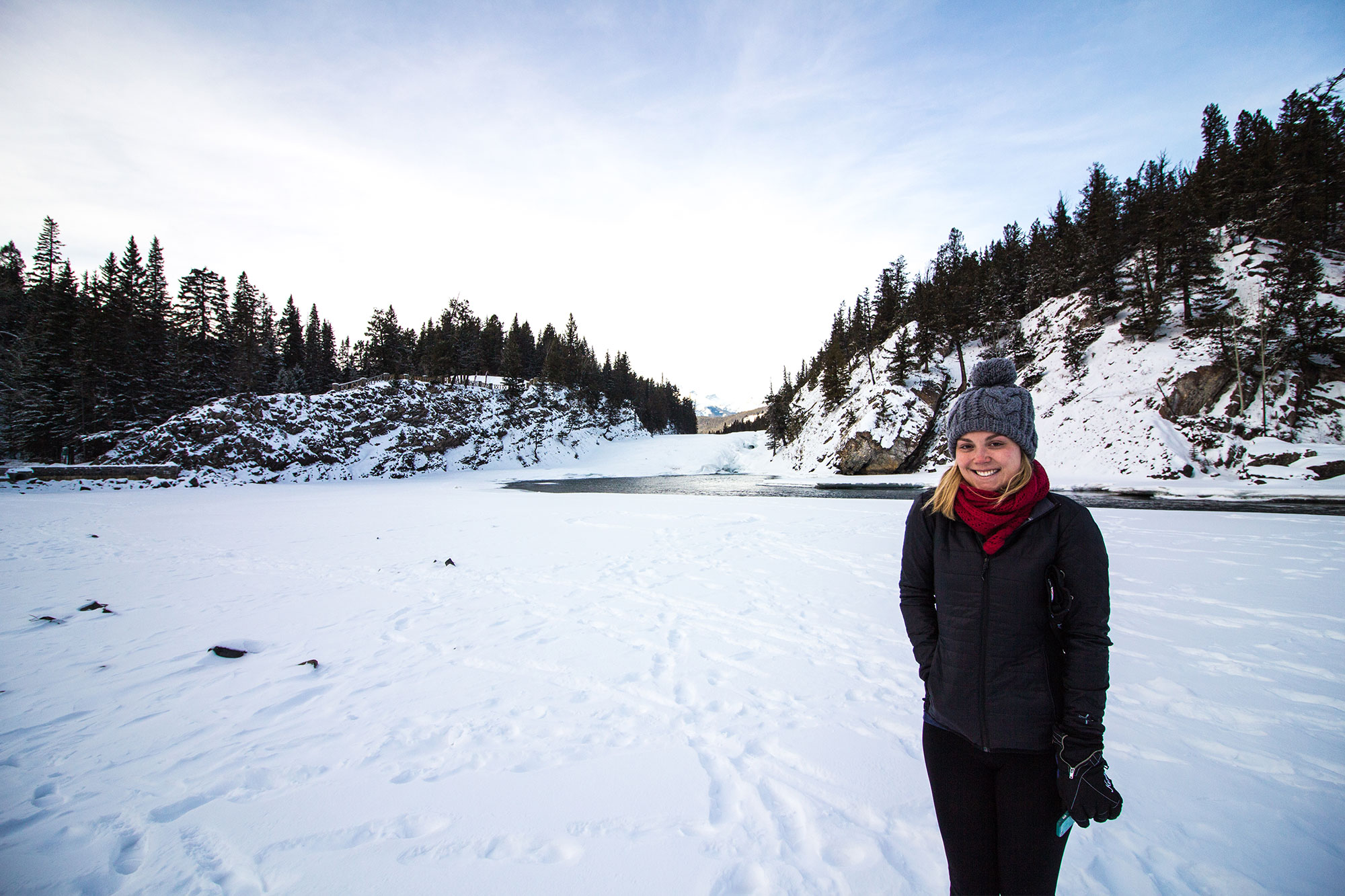 No car needed to get to the Bow Falls.
