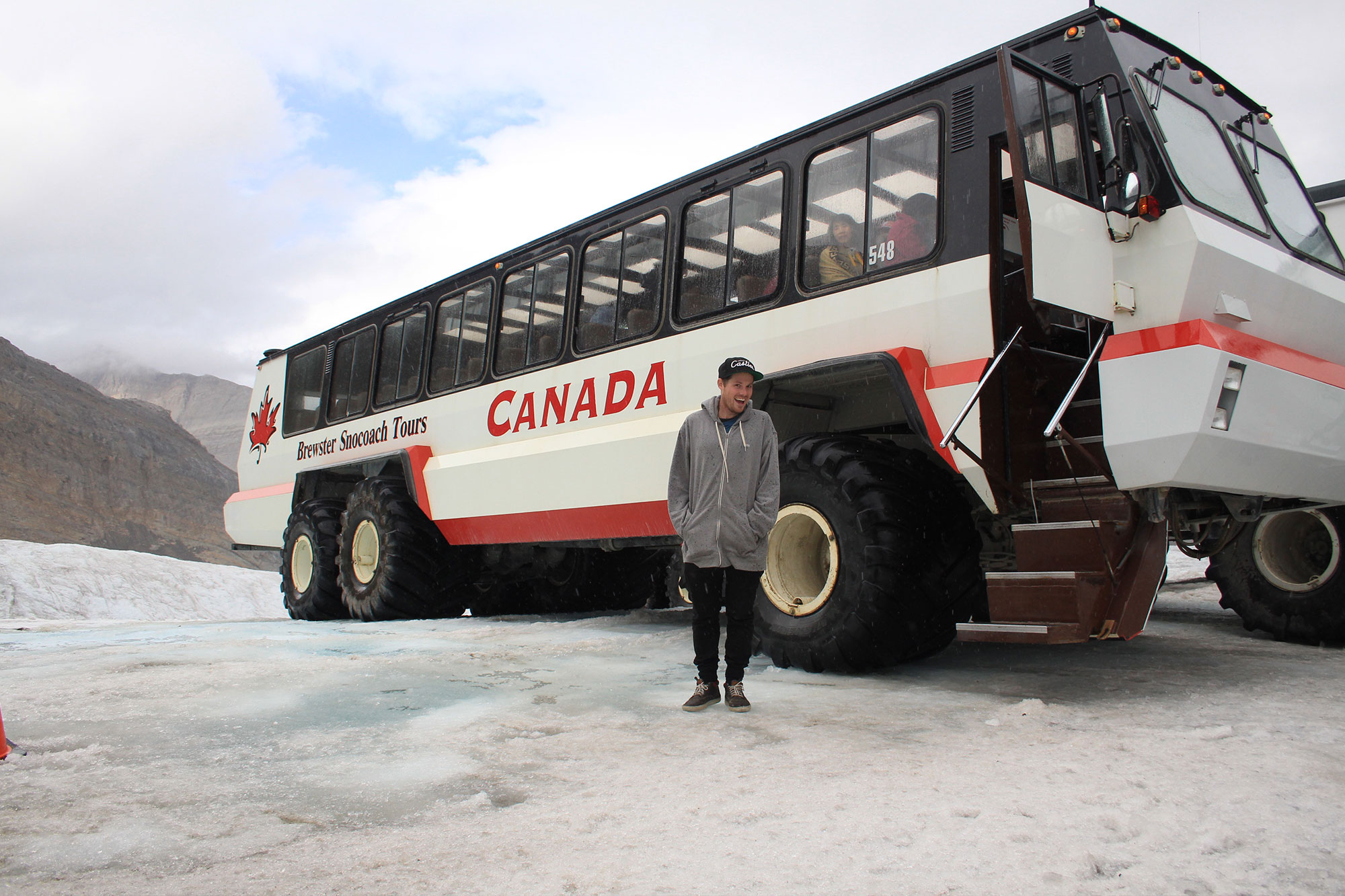 In Banff without a car? Brewster Glacier Adventure Bus can take you on to the Athabasca Glacier.