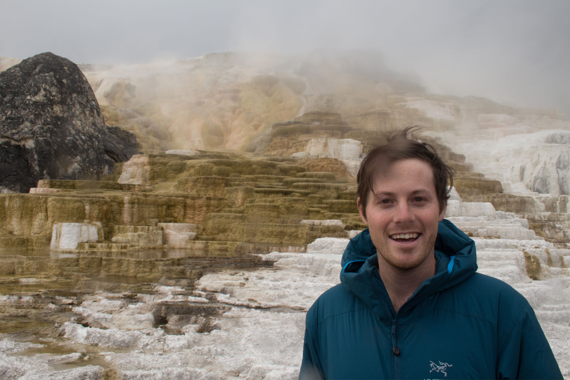 Cal at Mammoth Hot Springs, Yellowstone National Park