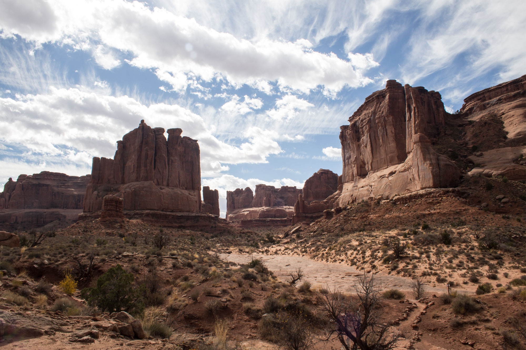 Looking back at Park Avenue, Arches National Park